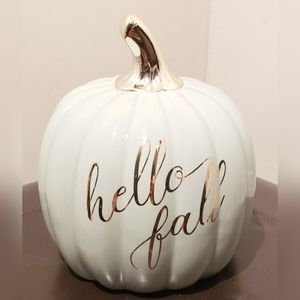 Hello Fall Mint Green Ceramic Pumpkin